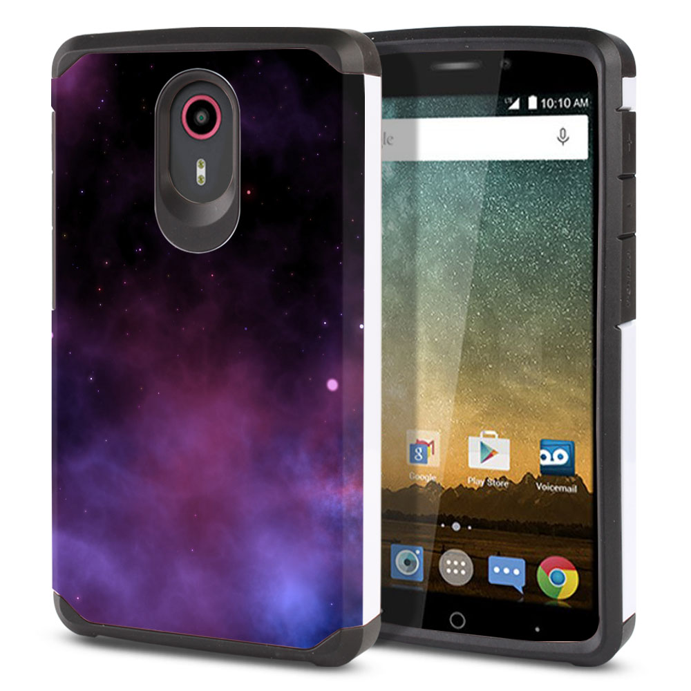 ZTE N817-ZTE Quest Uhura Hybrid Slim Fusion Purple Space Stars Protector Cover Case