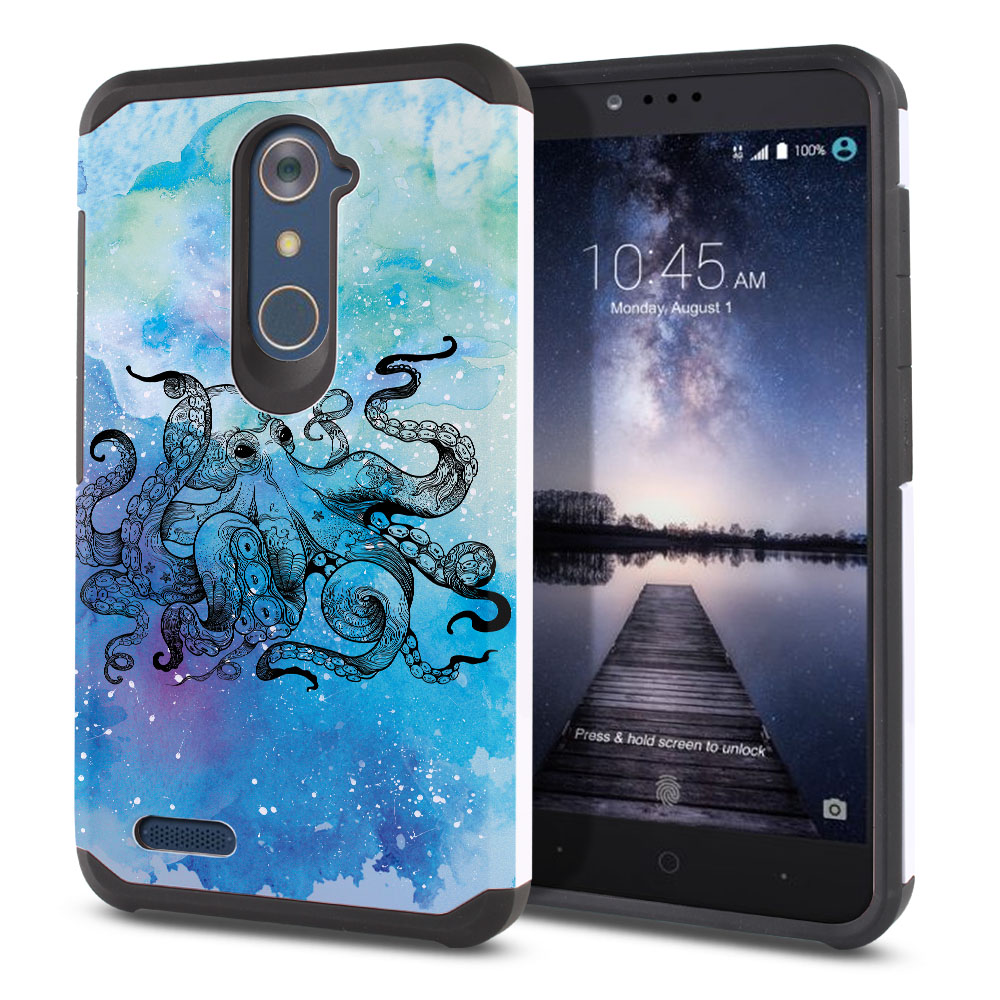 ZTE Zmax Pro Carry Z981 Hybrid Slim Fusion Blue Water Octopus Protector Cover Case