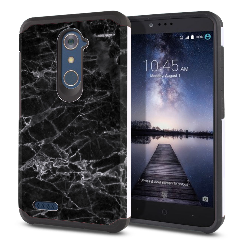 ZTE Zmax Pro Carry Z981 Hybrid Slim Fusion Black Stone Marble Protector Cover Case