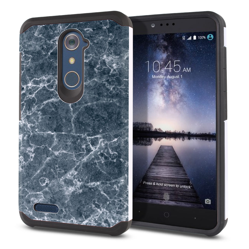 ZTE Zmax Pro Carry Z981 Hybrid Slim Fusion Blue Stone Marble Protector Cover Case