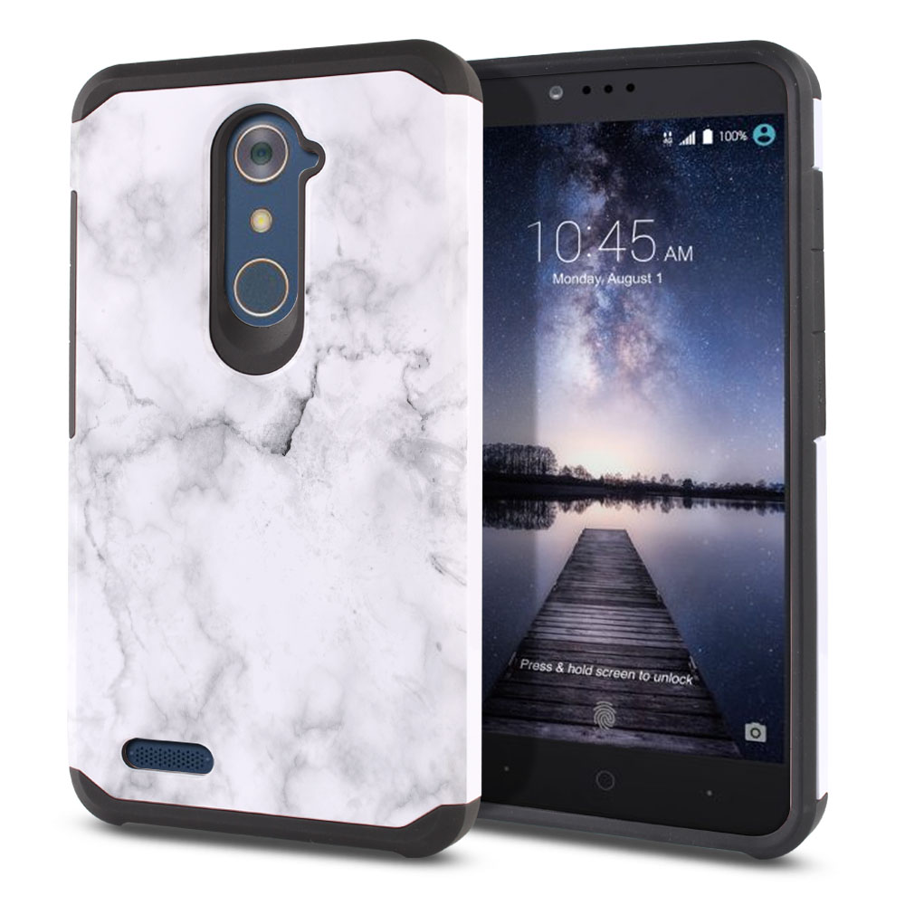 ZTE Zmax Pro Carry Z981 Hybrid Slim Fusion Grey Cloudy Marble Protector Cover Case