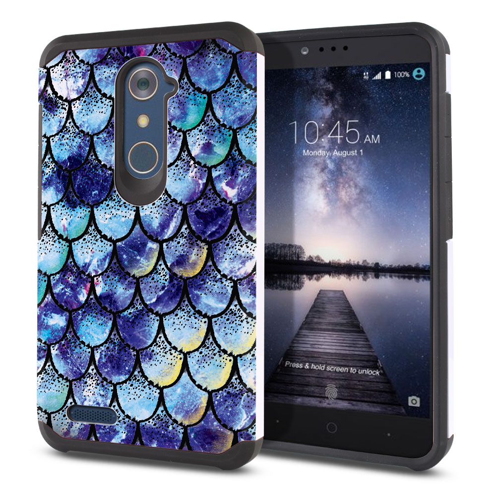 ZTE Zmax Pro Carry Z981 Hybrid Slim Fusion Purple Mermaid Scales Protector Cover Case