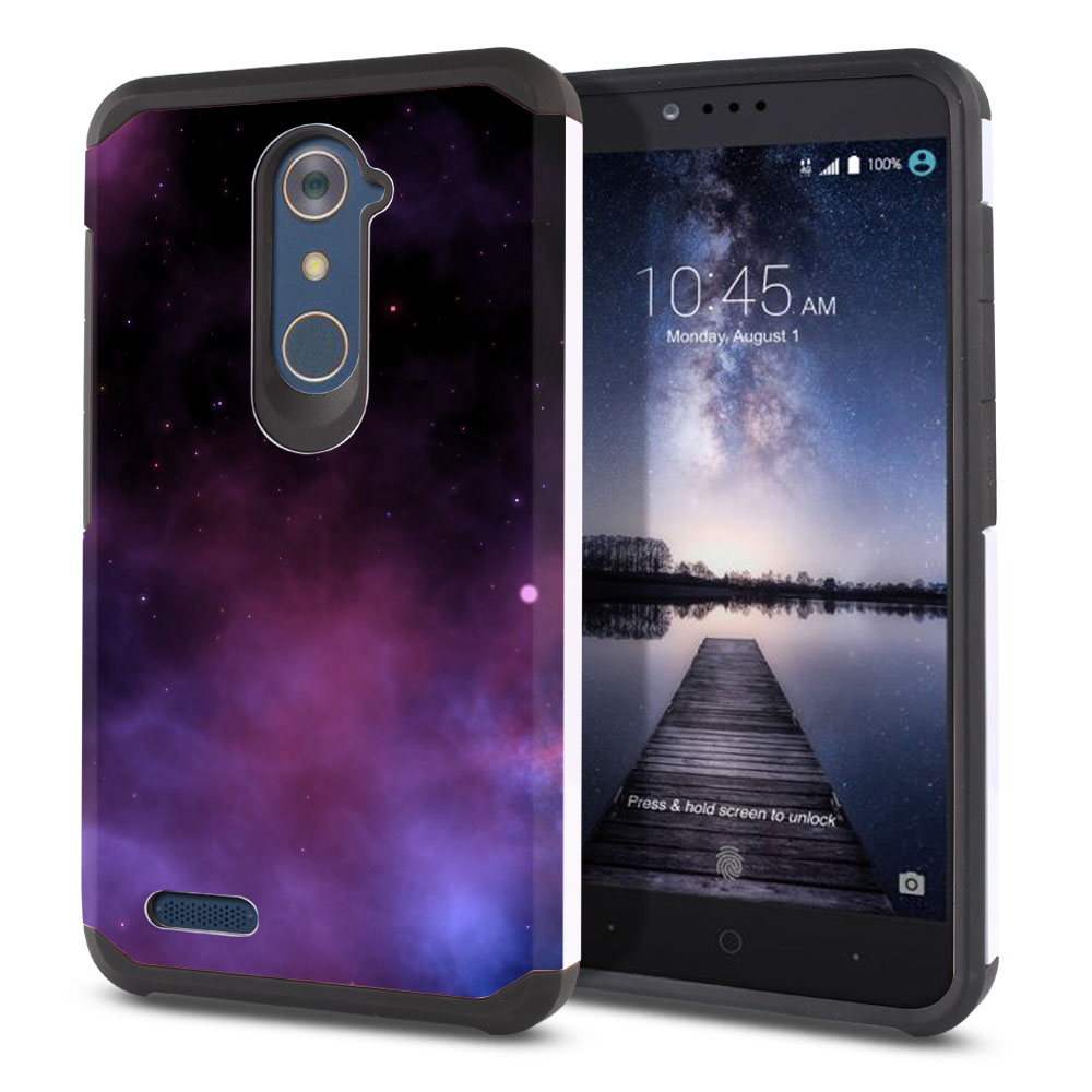 ZTE Zmax Pro Carry Z981 Hybrid Slim Fusion Purple Space Stars Protector Cover Case