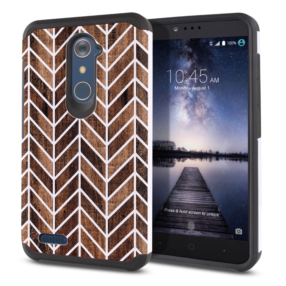 ZTE Zmax Pro Carry Z981 Hybrid Slim Fusion Modern Chevron Wood Protector Cover Case