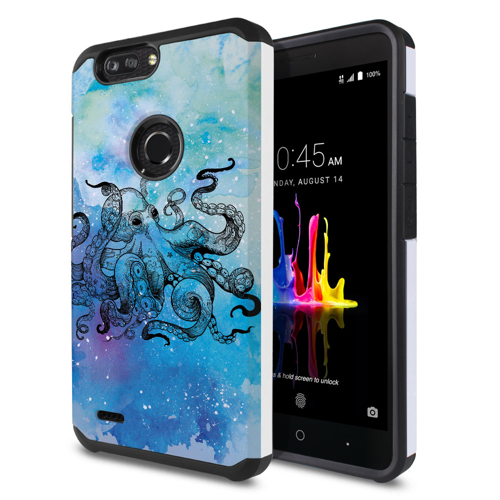 ZTE Blade Z Max Z982/ Sequoia Hybrid Slim Fusion Blue Water Octopus Protector Cover Case