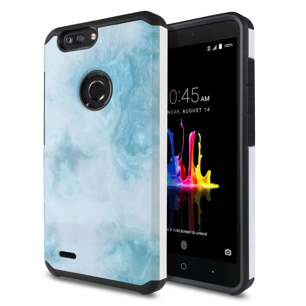 ZTE Blade Z Max Z982/ Sequoia Hybrid Slim Fusion Blue Cloudy Marble Protector Cover Case