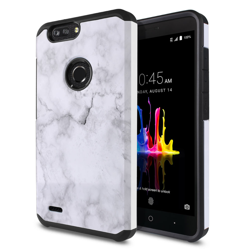 ZTE Blade Z Max Z982/ Sequoia Hybrid Slim Fusion Grey Cloudy Marble Protector Cover Case