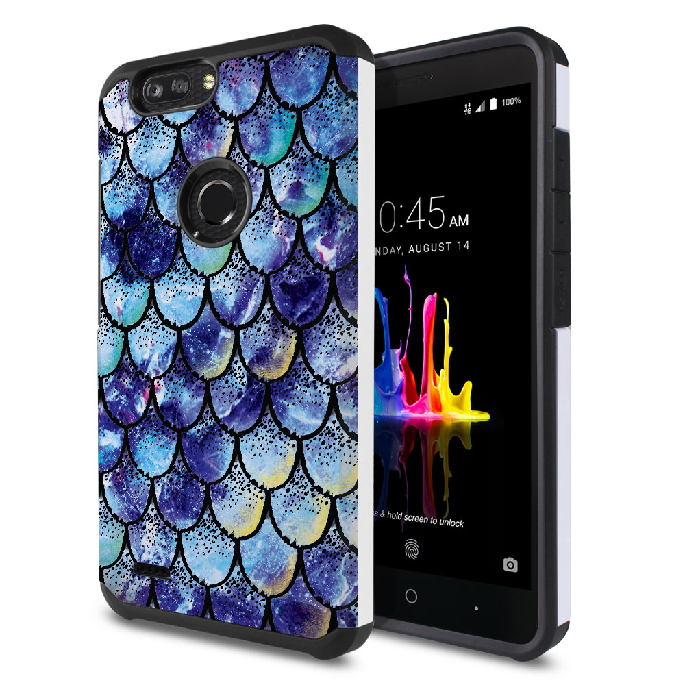 ZTE Blade Z Max Z982/ Sequoia Hybrid Slim Fusion Purple Mermaid Scales Protector Cover Case