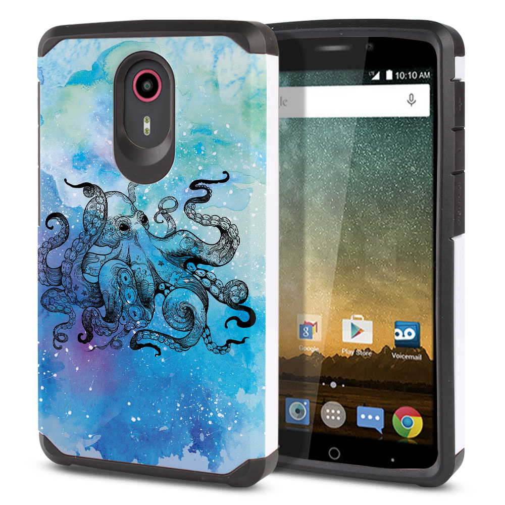 ZTE N817-ZTE Quest Uhura Hybrid Slim Fusion Blue Water Octopus Protector Cover Case