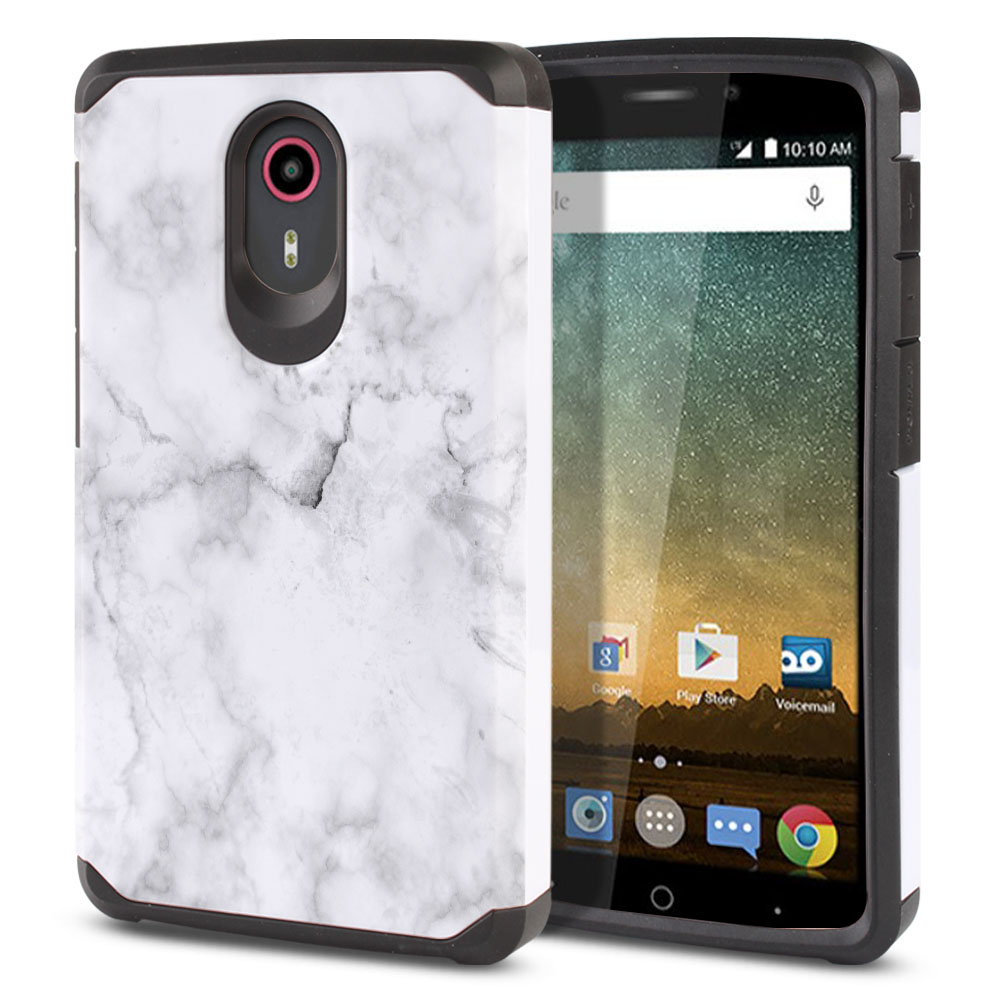 ZTE N817-ZTE Quest Uhura Hybrid Slim Fusion Grey Cloudy Marble Protector Cover Case