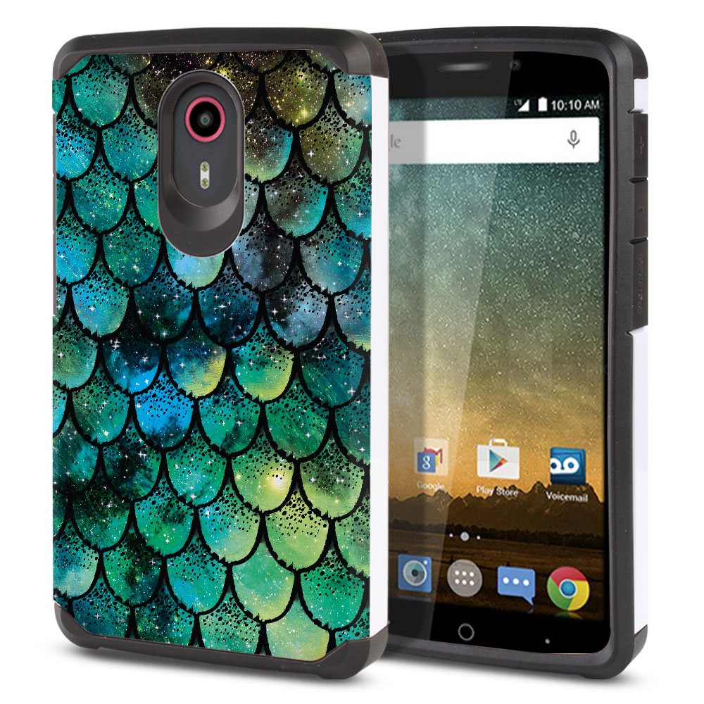 ZTE N817-ZTE Quest Uhura Hybrid Slim Fusion Green Mermaid Scales Protector Cover Case