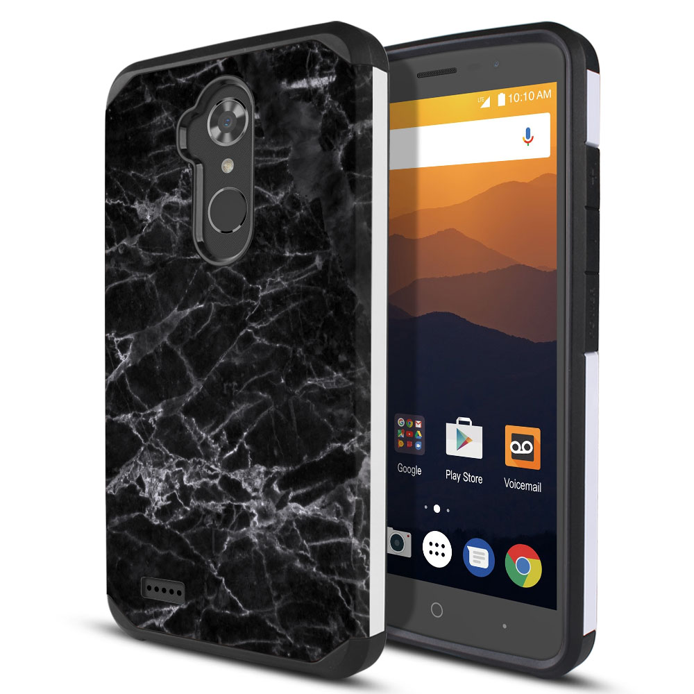 ZTE Max XL N9560 Hybrid Slim Fusion Black Stone Marble Protector Cover Case
