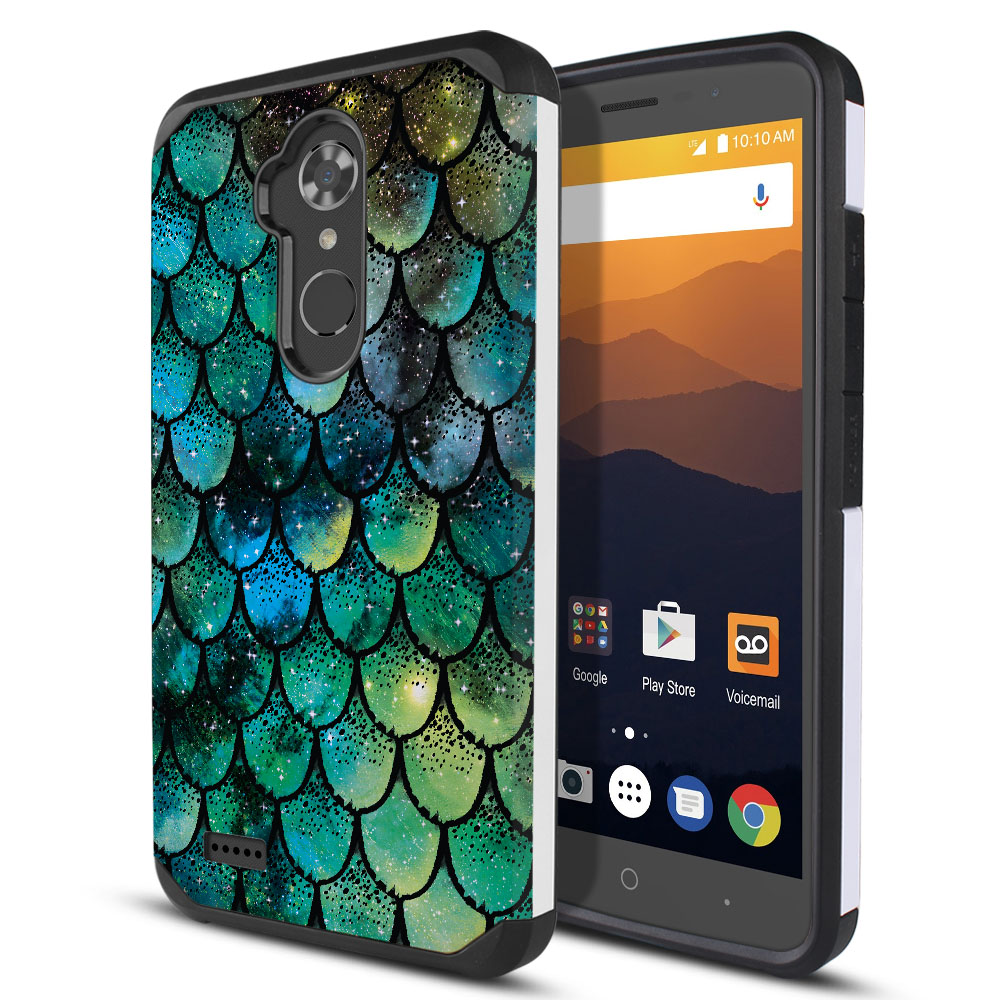 ZTE Max XL N9560 Hybrid Slim Fusion Green Mermaid Scales Protector Cover Case