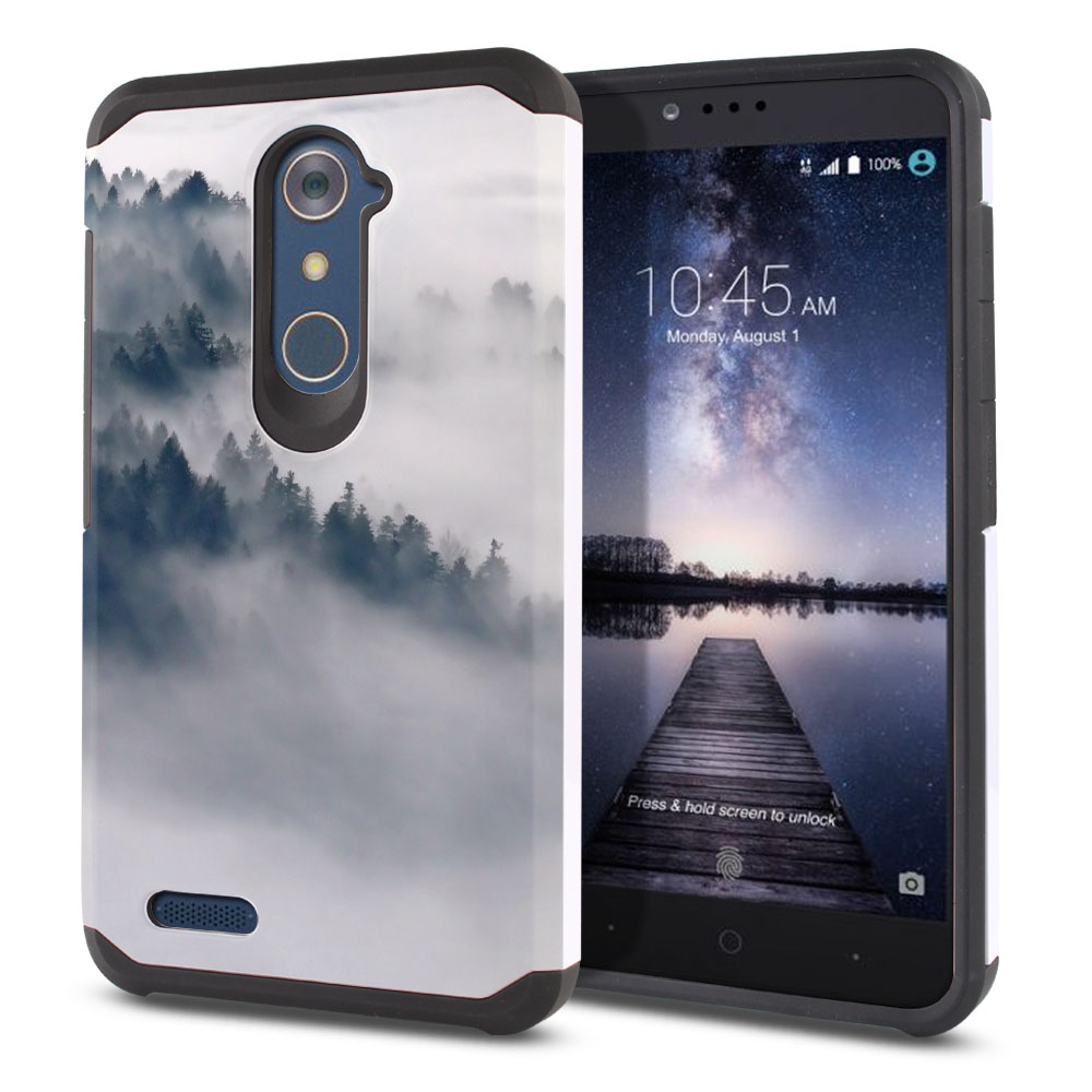 ZTE Zmax Pro Carry Z981 Hybrid Slim Fusion Winter Trees Protector Cover Case
