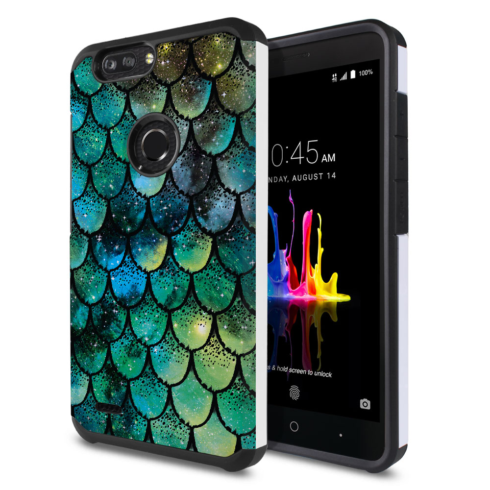 ZTE Blade Z Max Z982/ Sequoia Hybrid Slim Fusion Green Mermaid Scales Protector Cover Case