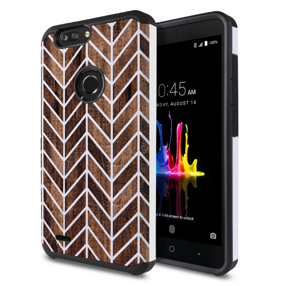 ZTE Blade Z Max Z982/ Sequoia Hybrid Slim Fusion Modern Chevron Wood Protector Cover Case