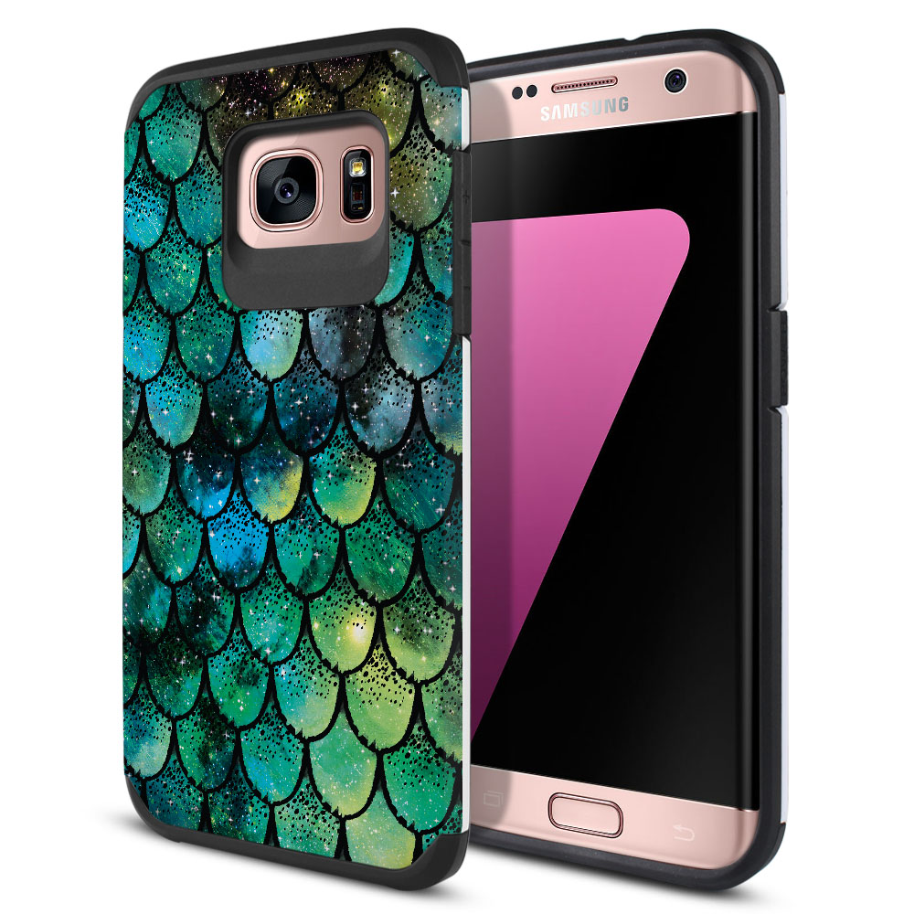 Samsung Galaxy S7 Edge G935 Hybrid Slim Fusion Green Mermaid Scales Protector Cover Case