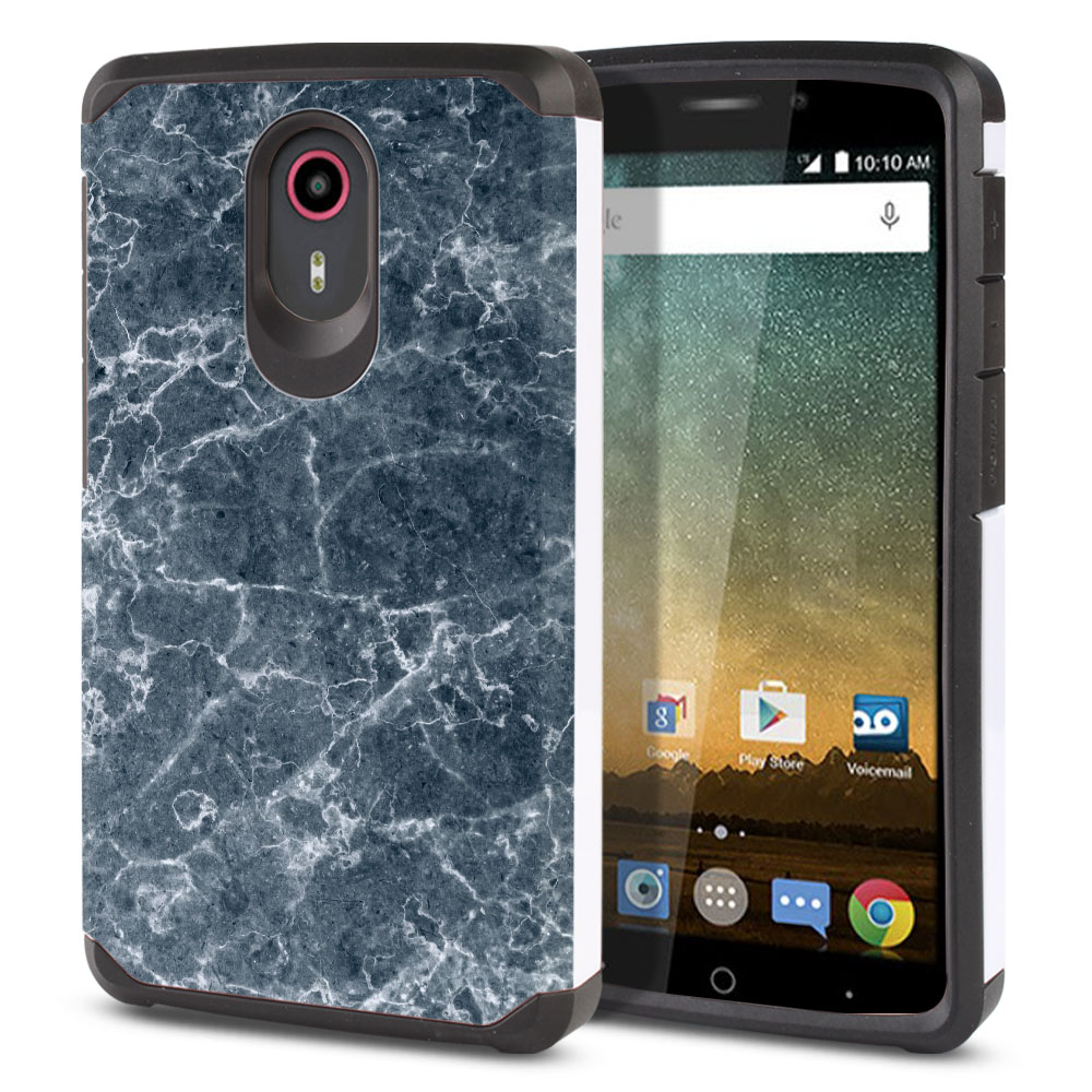 ZTE N817-ZTE Quest Uhura Hybrid Slim Fusion Blue Stone Marble Protector Cover Case