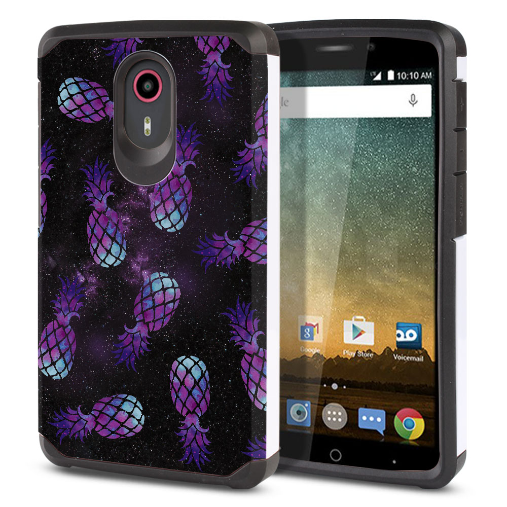 ZTE N817-ZTE Quest Uhura Hybrid Slim Fusion Purple Pineapples Galaxy Protector Cover Case