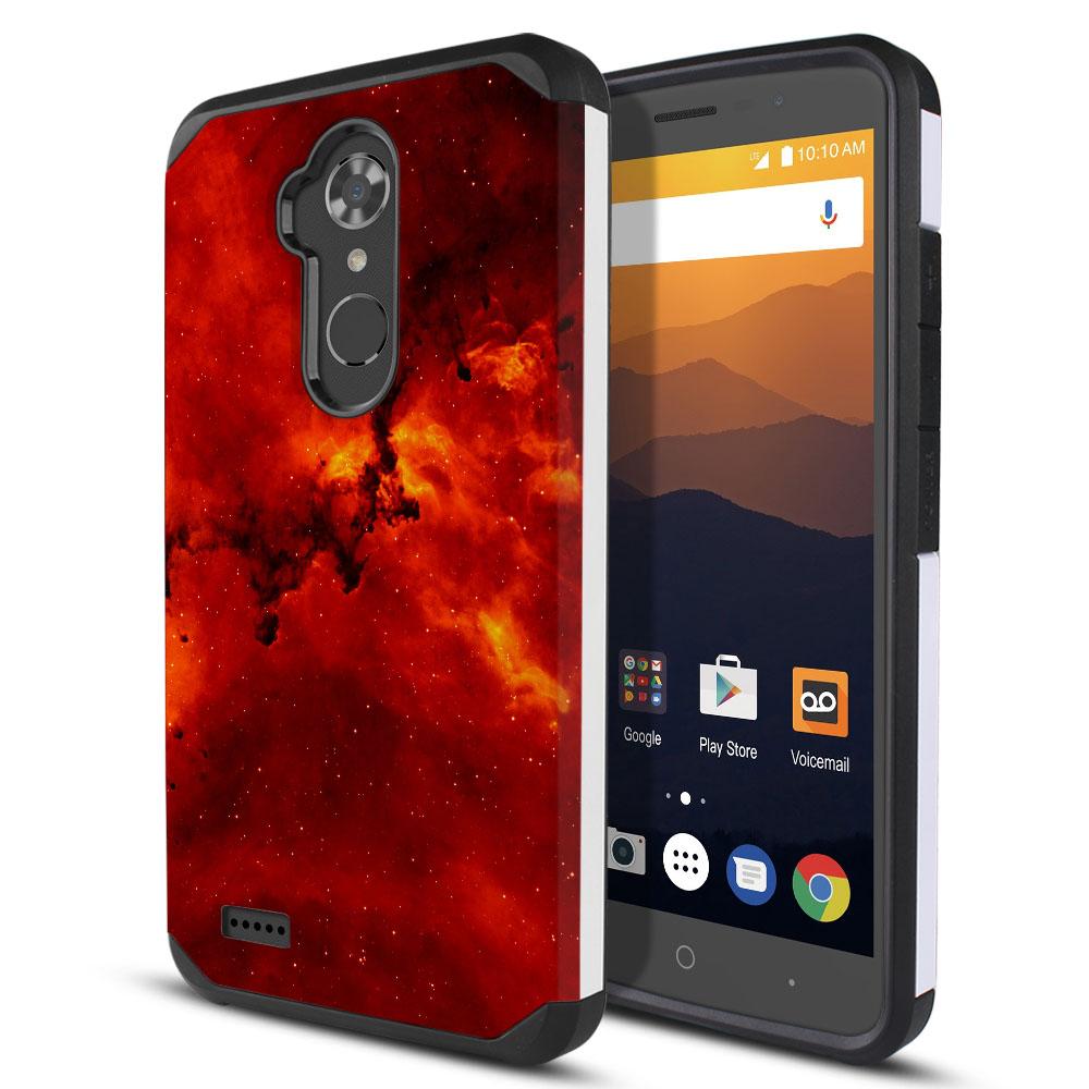 ZTE Max XL N9560 Hybrid Slim Fusion Fiery Galaxy Protector Cover Case