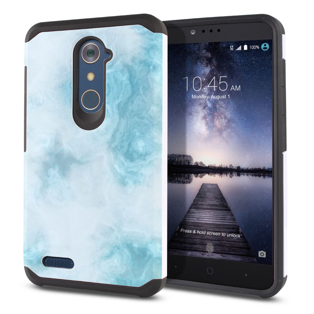 ZTE Zmax Pro Carry Z981 Hybrid Slim Fusion Blue Cloudy Marble Protector Cover Case