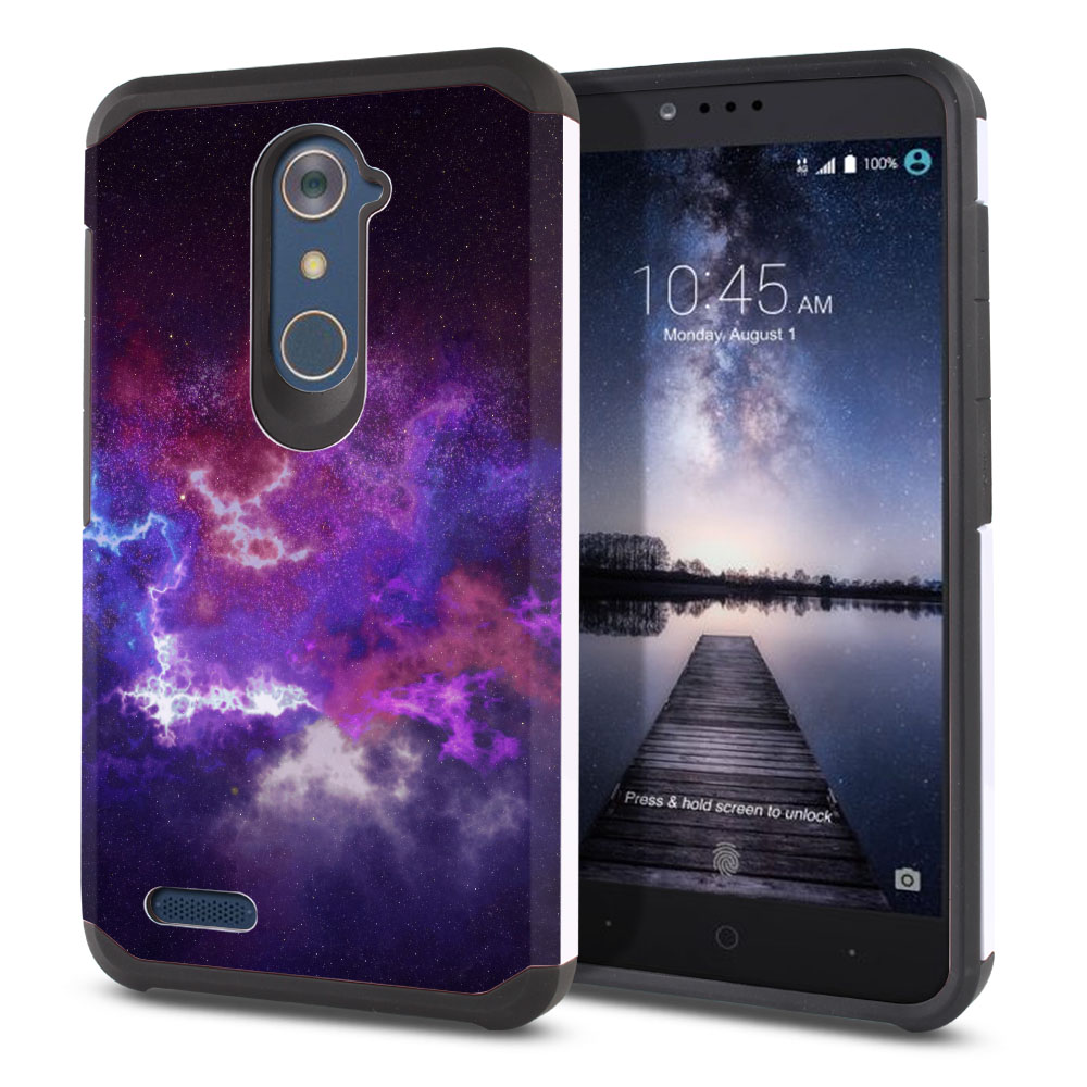 ZTE Zmax Pro Carry Z981 Hybrid Slim Fusion Purple Nebula Space Protector Cover Case