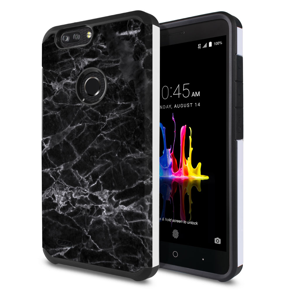ZTE Blade Z Max Z982/ Sequoia Hybrid Slim Fusion Black Stone Marble Protector Cover Case