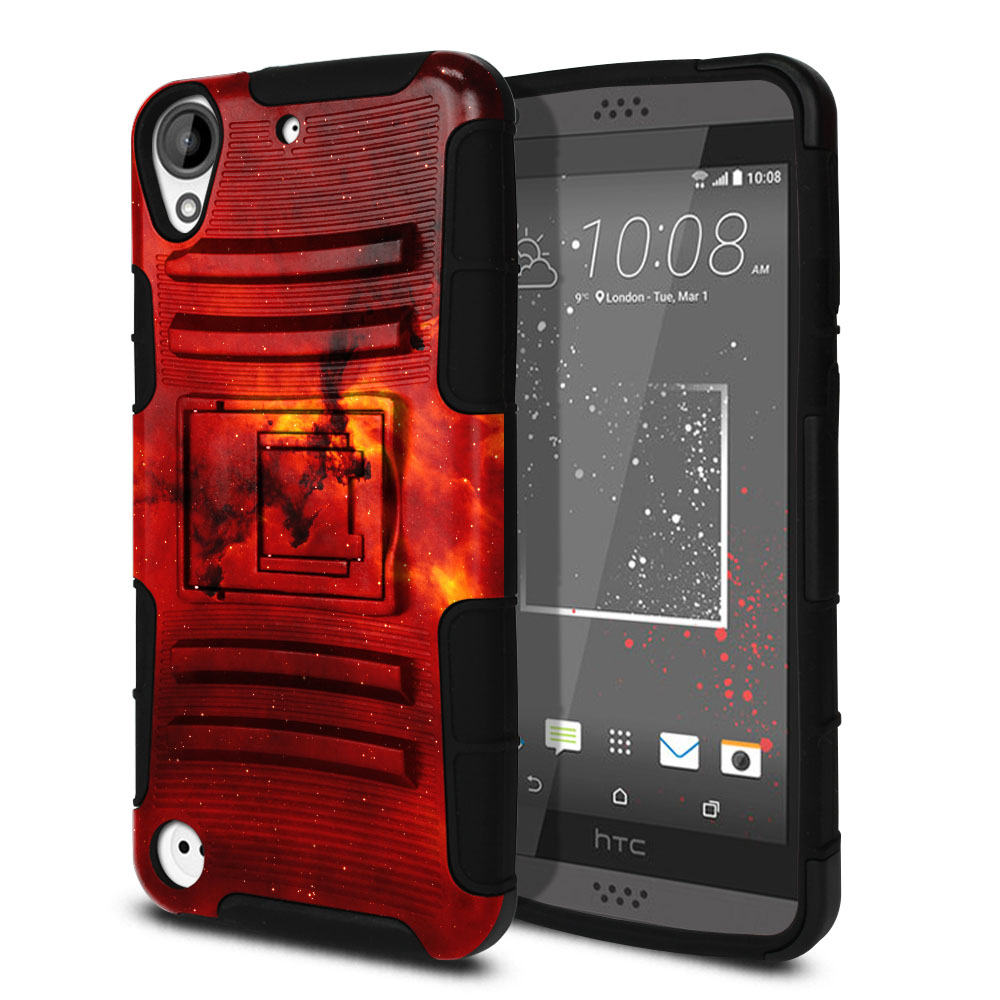 HTC Desire 530 630 Hybrid Rigid Stand Fiery Galaxy Protector Cover Case