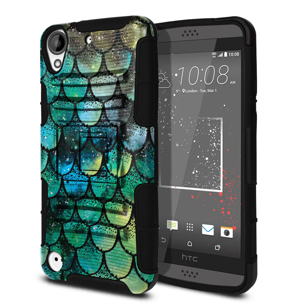HTC Desire 530 630 Hybrid Rigid Stand Green Mermaid Scales Protector Cover Case