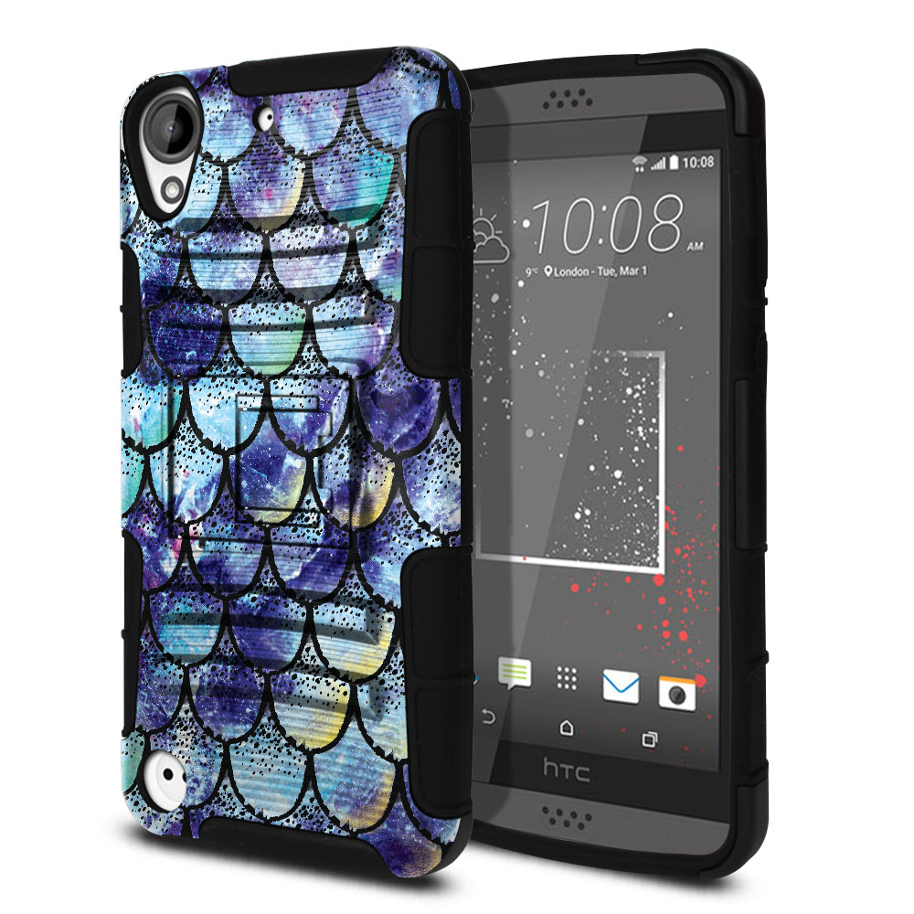 HTC Desire 530 630 Hybrid Rigid Stand Purple Mermaid Scales Protector Cover Case
