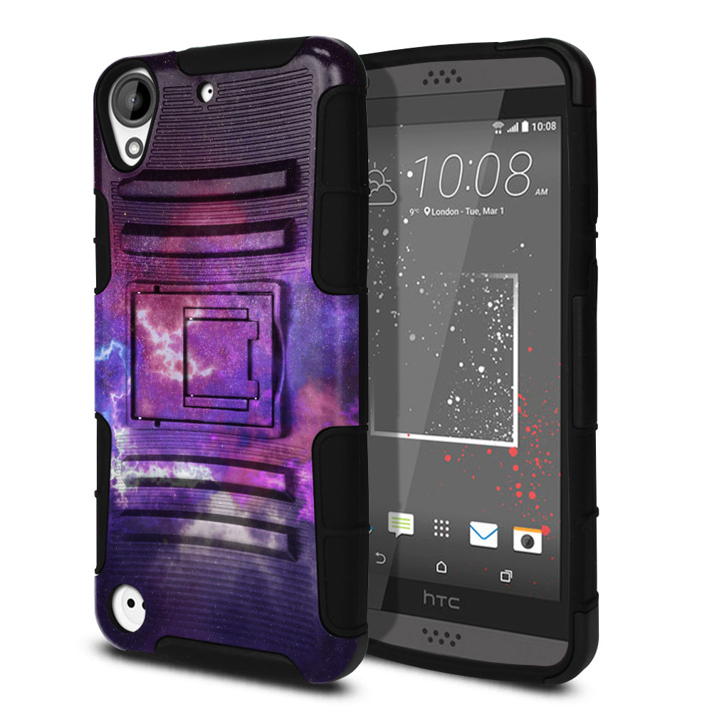HTC Desire 530 630 Hybrid Rigid Stand Purple Nebula Space Protector Cover Case