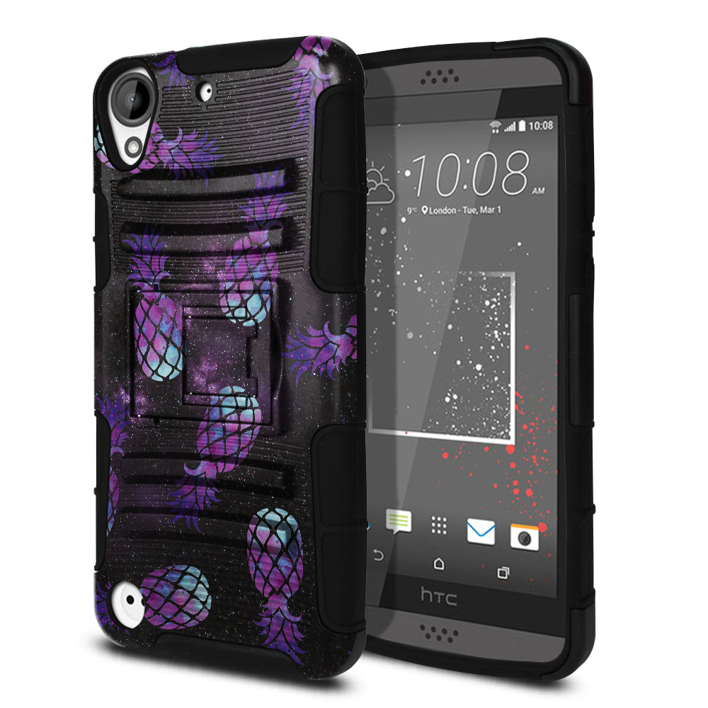 HTC Desire 530 630 Hybrid Rigid Stand Purple Pineapples Galaxy Protector Cover Case