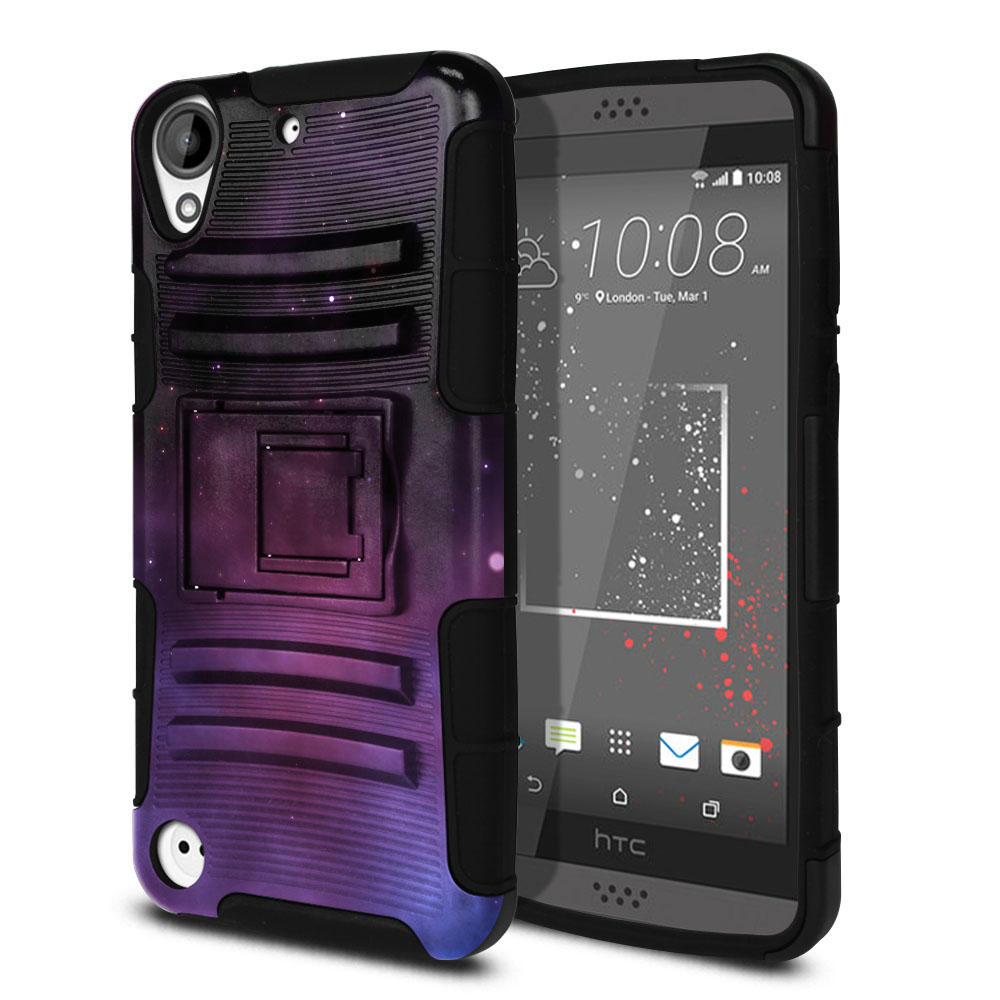 HTC Desire 530 630 Hybrid Rigid Stand Purple Space Stars Protector Cover Case