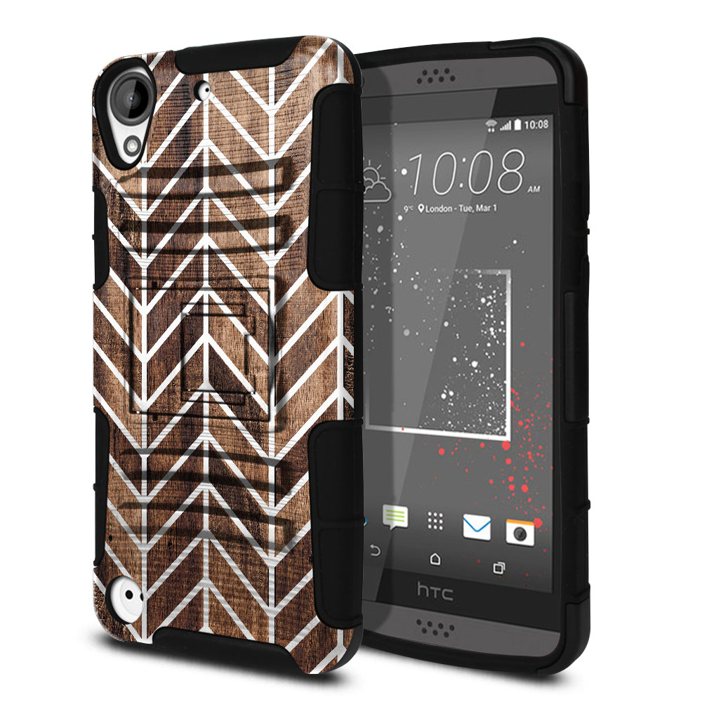 HTC Desire 530 630 Hybrid Rigid Stand Modern Chevron Wood Protector Cover Case