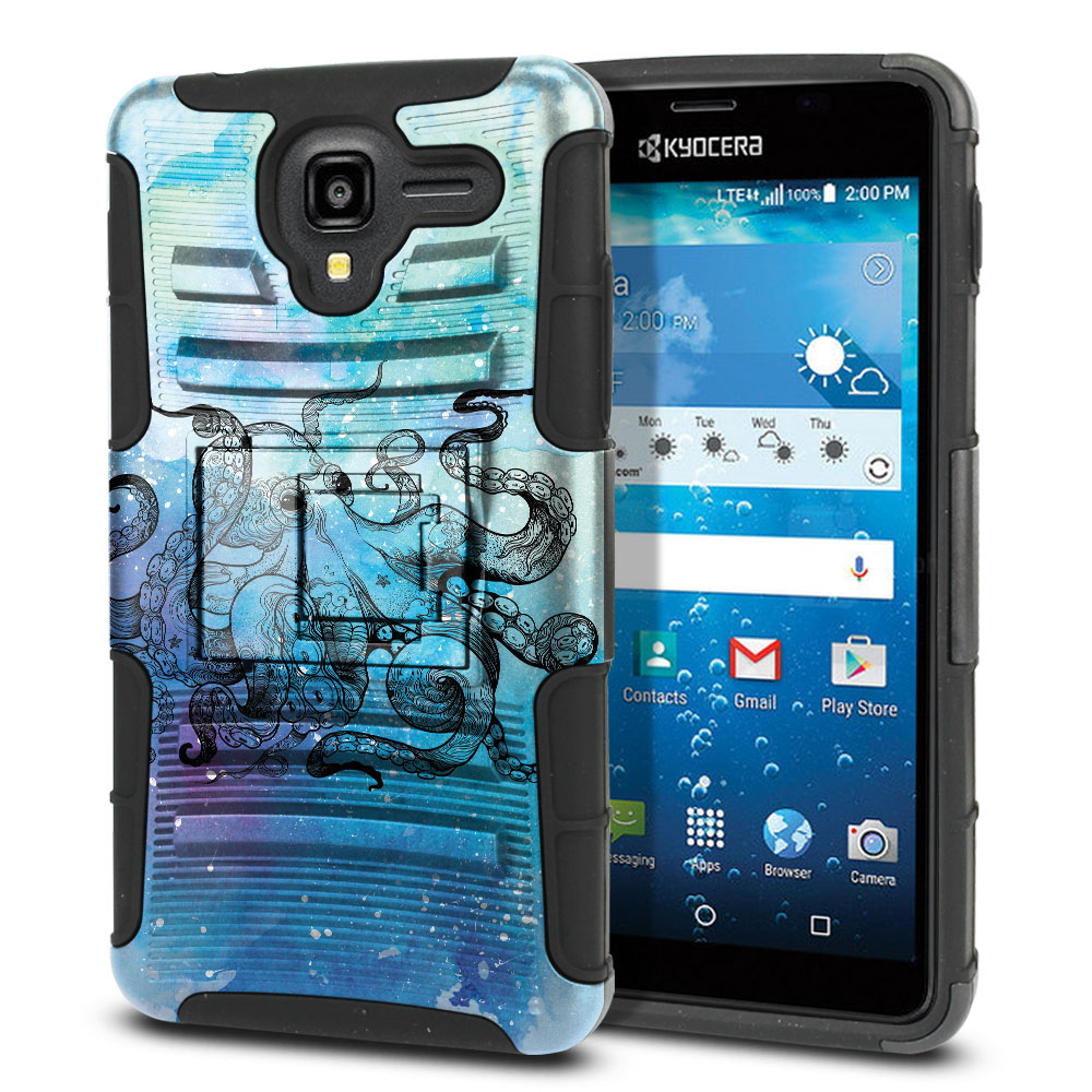 Kyocera Hydro View C6742 Hybrid Rigid Stand Blue Water Octopus Protector Cover Case