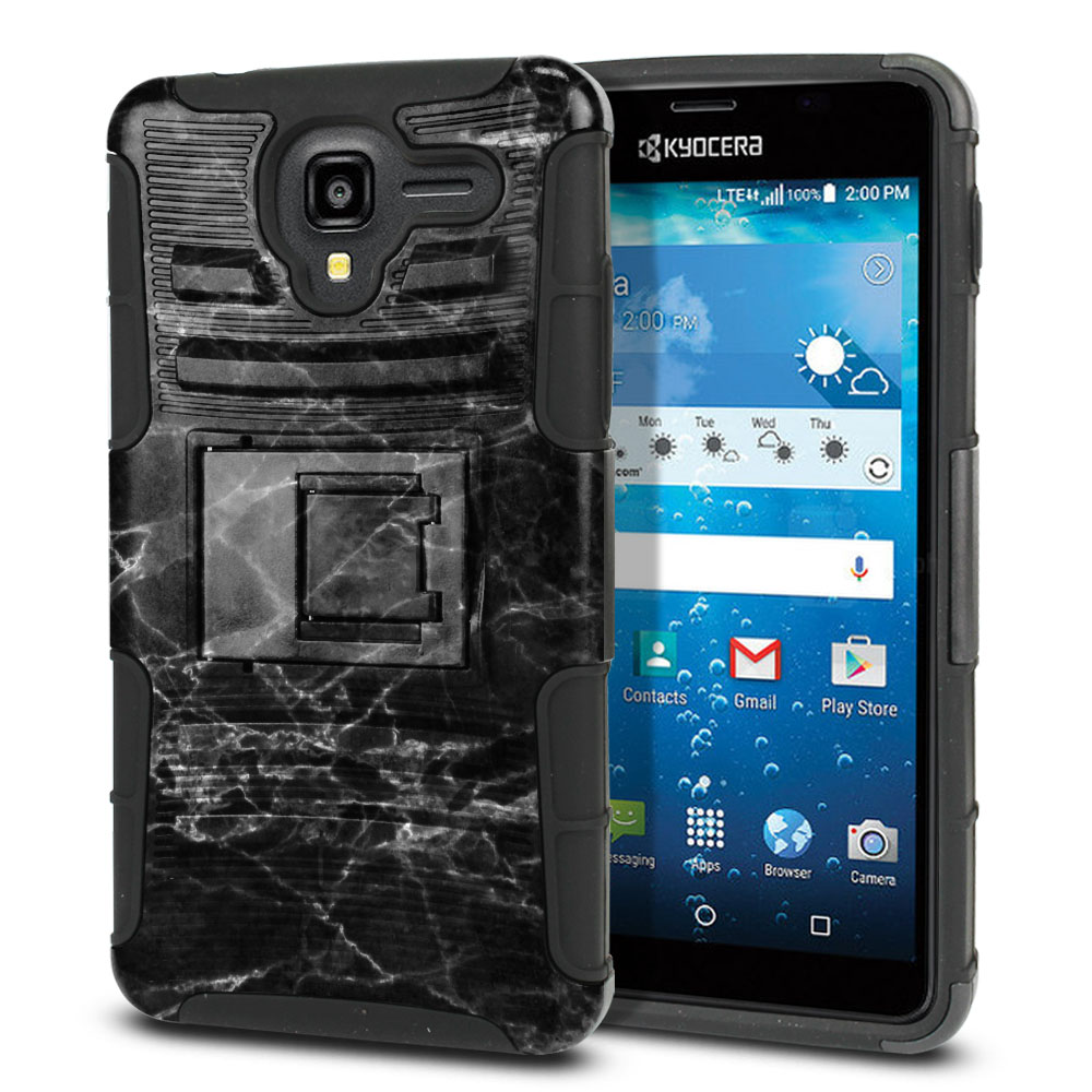 Kyocera Hydro View C6742 Hybrid Rigid Stand Black Stone Marble Protector Cover Case