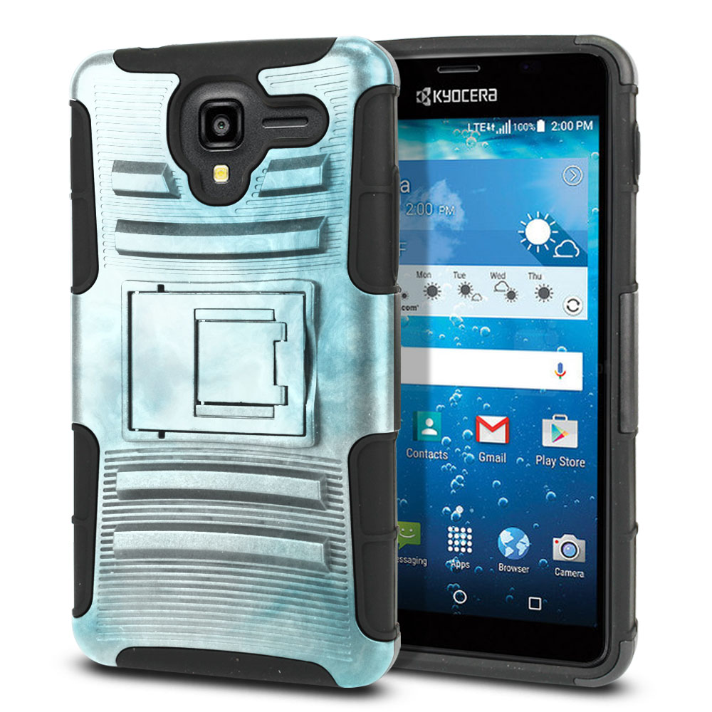 Kyocera Hydro View C6742 Hybrid Rigid Stand Blue Cloudy Marble Protector Cover Case