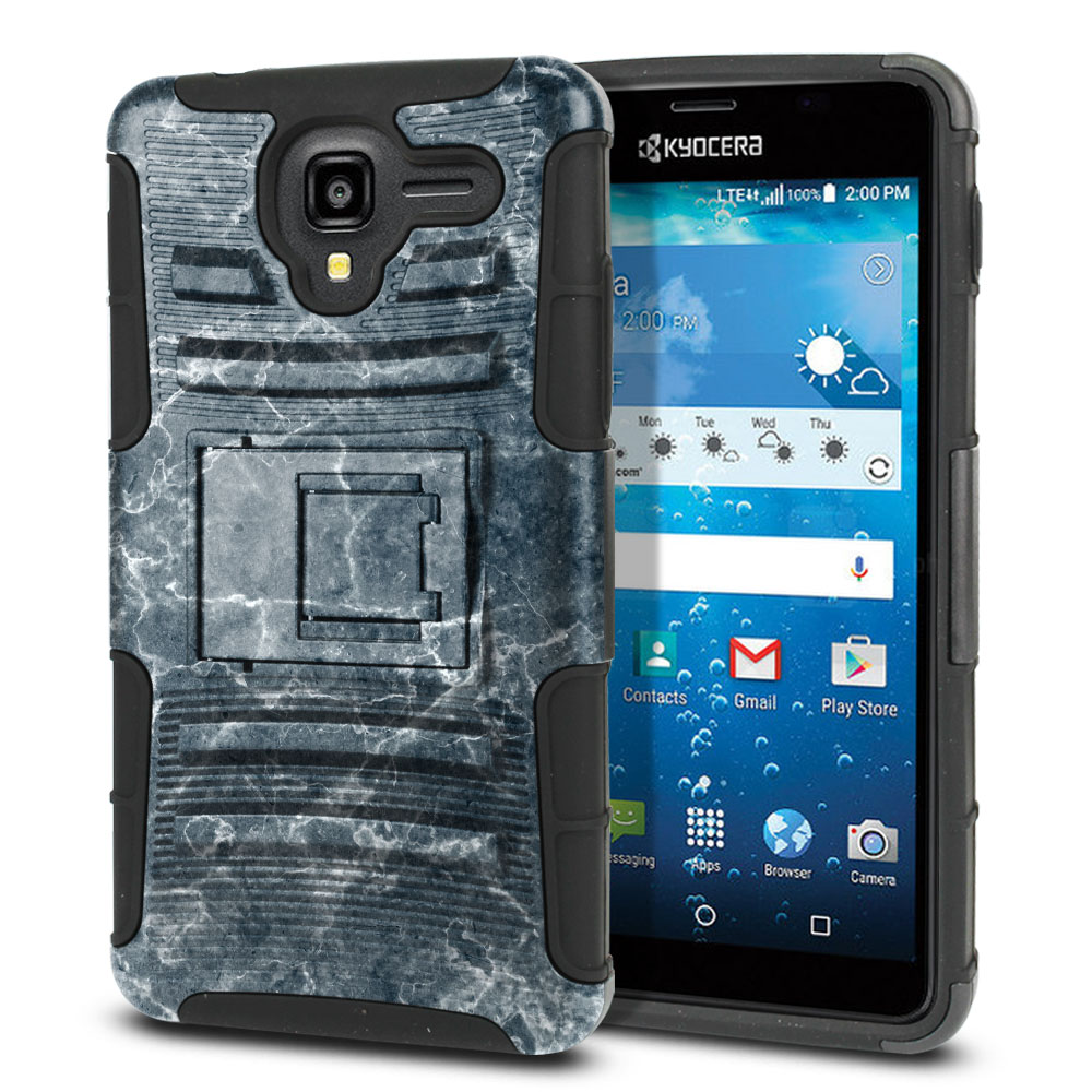 Kyocera Hydro View C6742 Hybrid Rigid Stand Blue Stone Marble Protector Cover Case