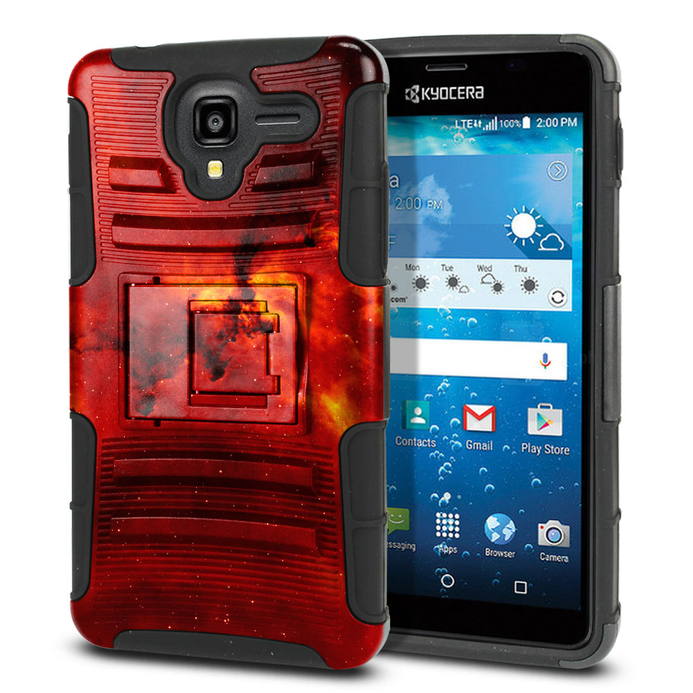 Kyocera Hydro View C6742 Hybrid Rigid Stand Fiery Galaxy Protector Cover Case