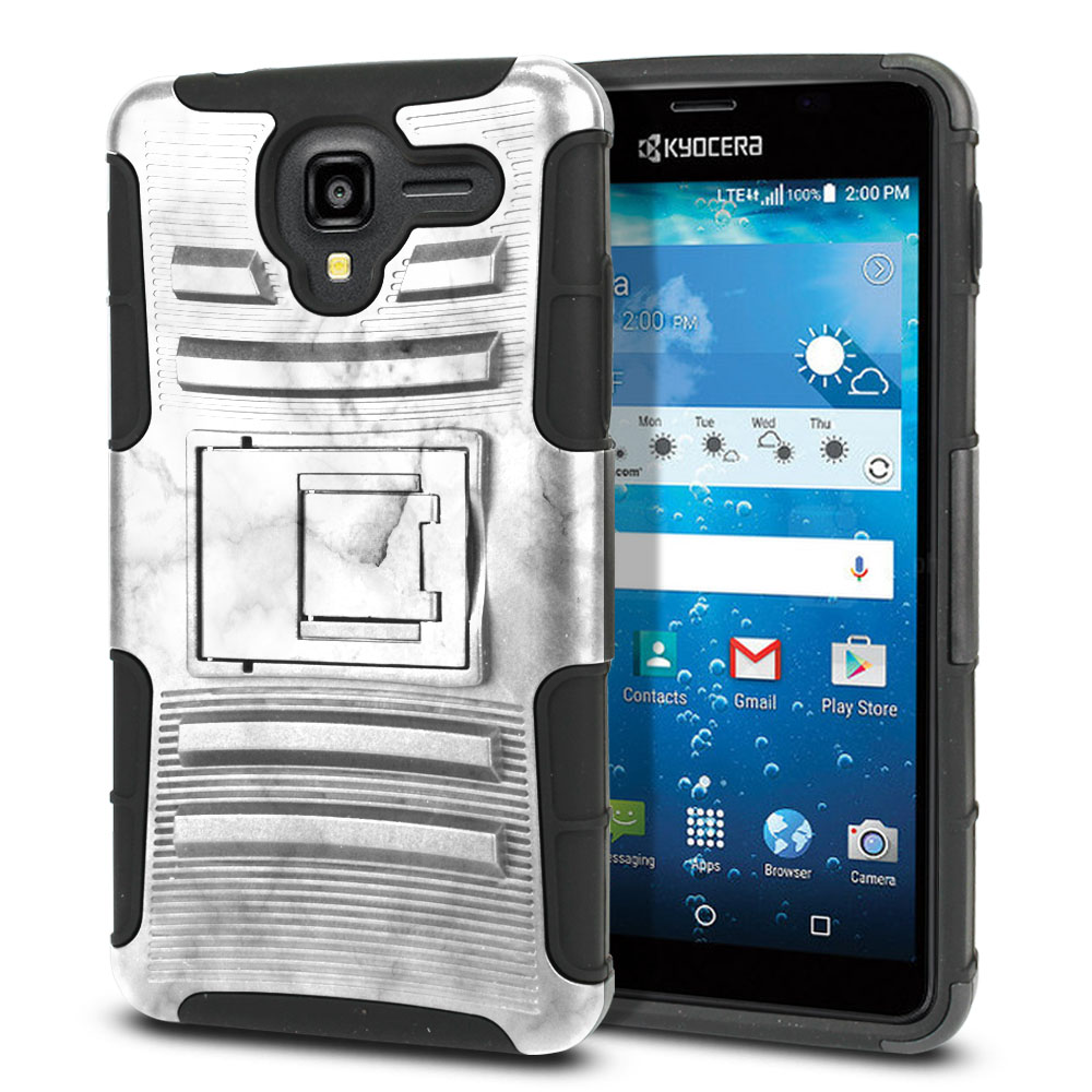 Kyocera Hydro View C6742 Hybrid Rigid Stand Grey Cloudy Marble Protector Cover Case
