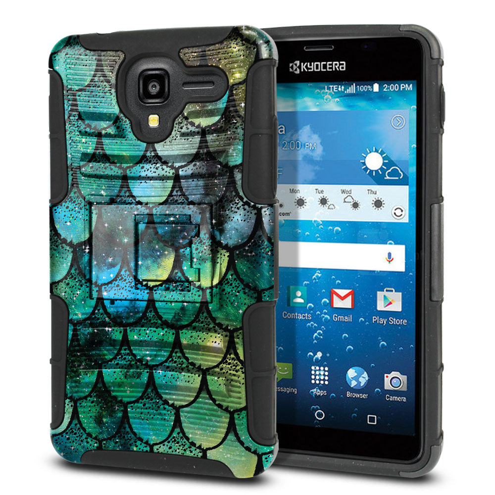 Kyocera Hydro View C6742 Hybrid Rigid Stand Green Mermaid Scales Protector Cover Case