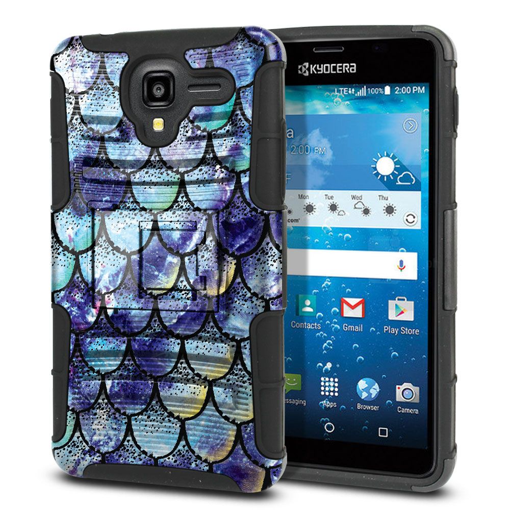 Kyocera Hydro View C6742 Hybrid Rigid Stand Purple Mermaid Scales Protector Cover Case
