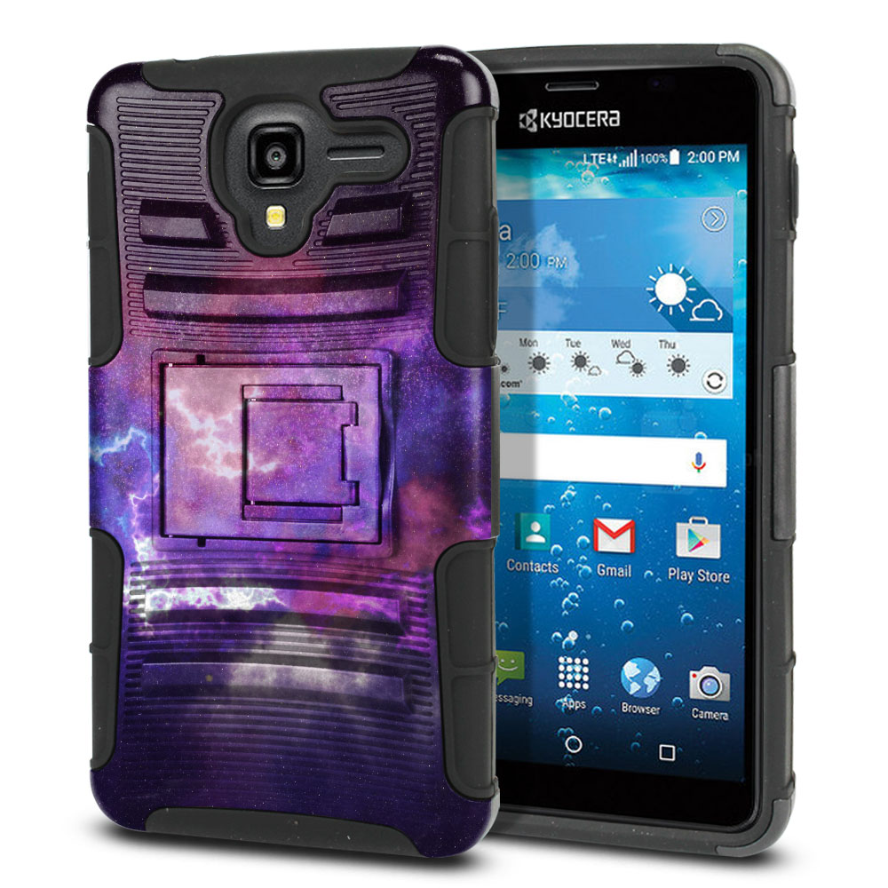 Kyocera Hydro View C6742 Hybrid Rigid Stand Purple Nebula Space Protector Cover Case