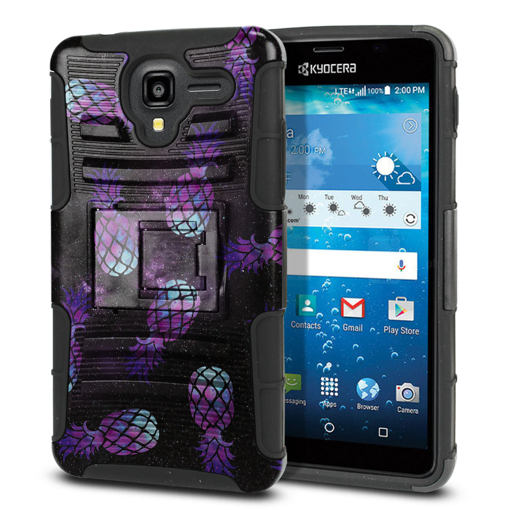 Kyocera Hydro View C6742 Hybrid Rigid Stand Purple Pineapples Galaxy Protector Cover Case