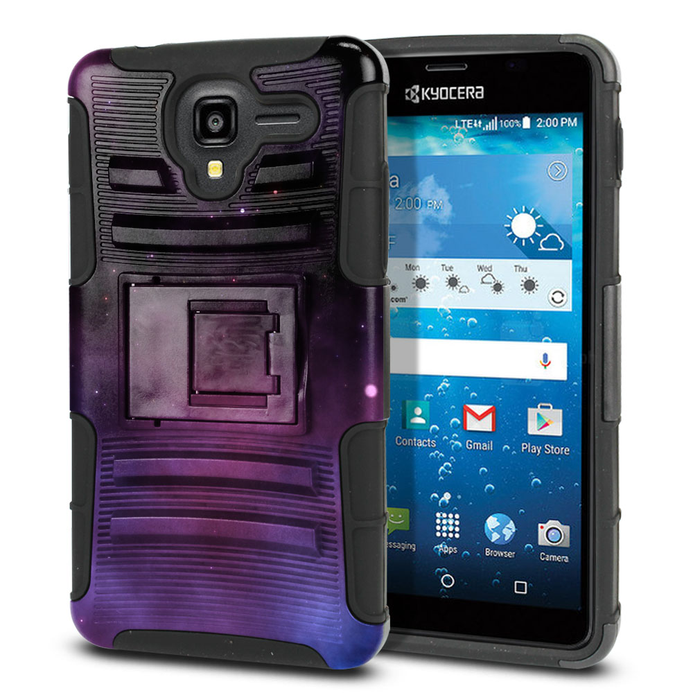 Kyocera Hydro View C6742 Hybrid Rigid Stand Purple Space Stars Protector Cover Case