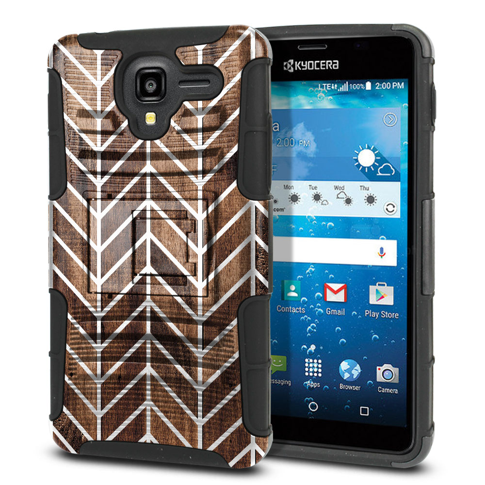 Kyocera Hydro View C6742 Hybrid Rigid Stand Modern Chevron Wood Protector Cover Case