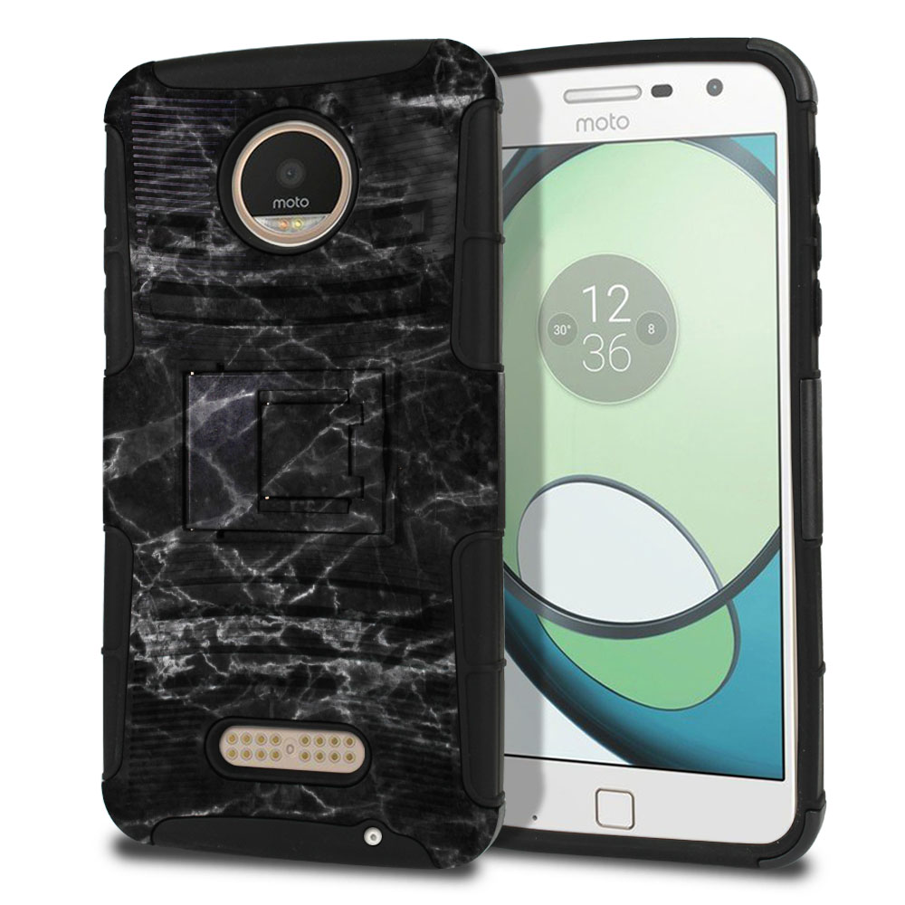Motorola Moto Z Play Droid XT1635 Hybrid Rigid Stand Black Stone Marble Protector Cover Case