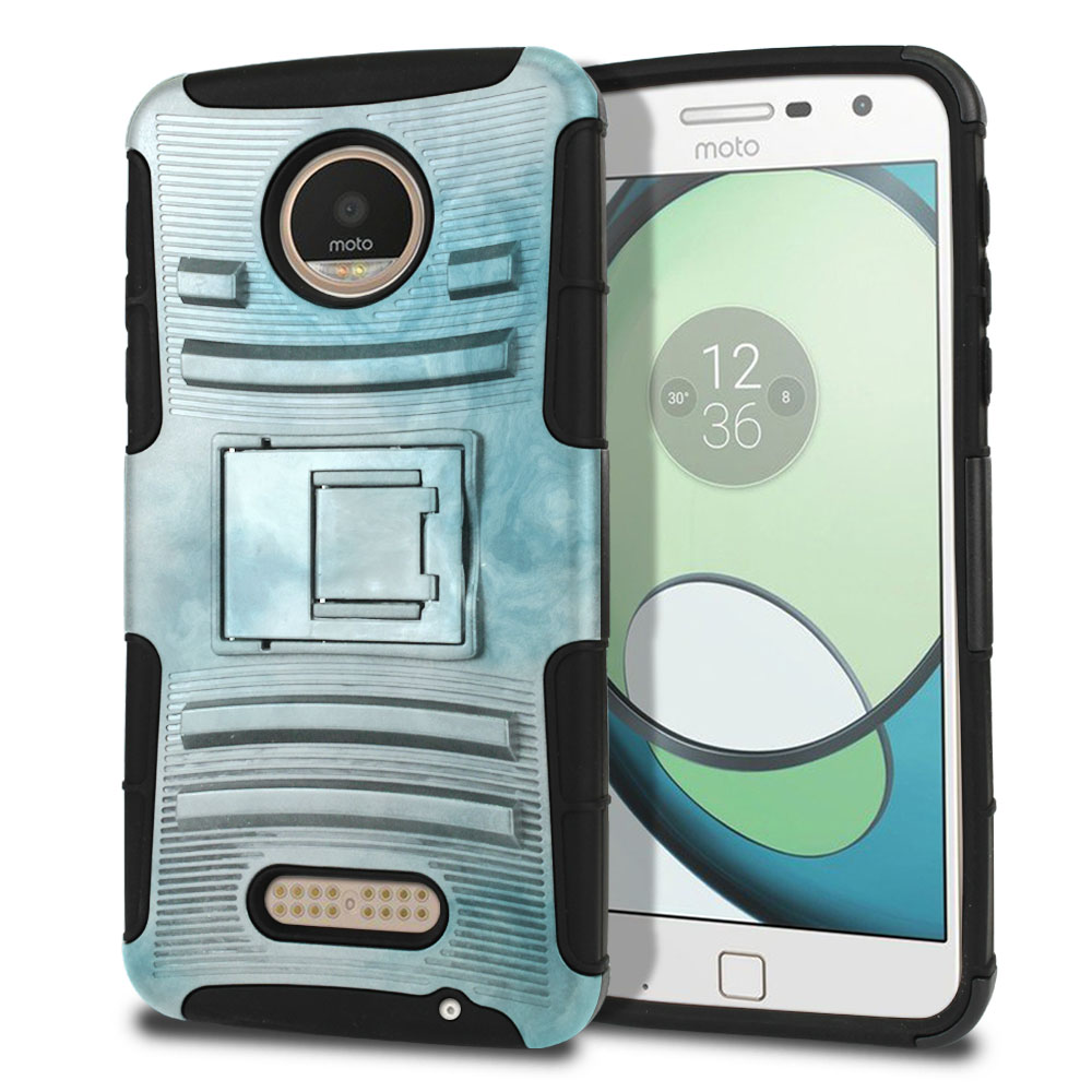 Motorola Moto Z Play Droid XT1635 Hybrid Rigid Stand Blue Cloudy Marble Protector Cover Case