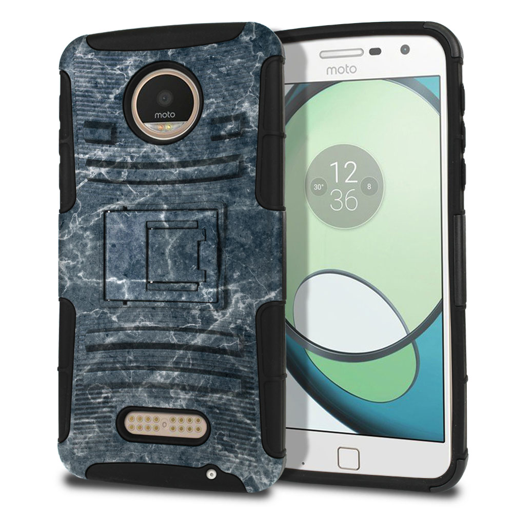 Motorola Moto Z Play Droid XT1635 Hybrid Rigid Stand Blue Stone Marble Protector Cover Case