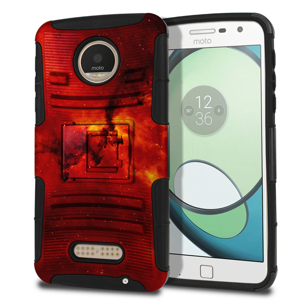 Motorola Moto Z Play Droid XT1635 Hybrid Rigid Stand Fiery Galaxy Protector Cover Case